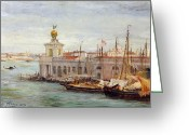Mooring Greeting Cards - Venice Greeting Card by Sir Samuel Luke Fields