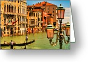 Gondola Digital Art Greeting Cards - Venice Street Lamp Greeting Card by Mick Burkey