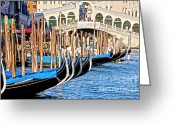 Venetian Architecture Greeting Cards - Venice sunny rialto bridge Greeting Card by Heiko Koehrer-Wagner