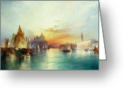 Canals Painting Greeting Cards - Venice Greeting Card by Thomas Moran