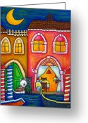 Westie Greeting Cards - Venice Valentine Greeting Card by Lisa  Lorenz