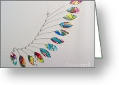Beach Decor Sculpture Greeting Cards - Venice Wave Kinetic Mobile Sculpture Greeting Card by Carolyn Weir