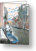Canal Drawings Greeting Cards - Venise Greeting Card by Wilfrid Barbier
