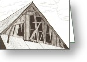 Dilapidated Drawings Greeting Cards - Ventilated Greeting Card by Pat Price