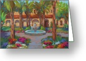 San Juan Bautista Greeting Cards - Ventura Mission Greeting Card by Diane McClary
