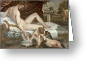Drapery Greeting Cards - Venus and Cupid Greeting Card by Lambert Sustris