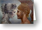 Greek Sculpture Painting Greeting Cards - Venus and Mars Greeting Card by Geraldine Arata