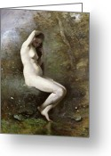 1796 Greeting Cards - Venus Bathing Greeting Card by Jean Baptiste Camille Corot
