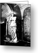 Greek Sculpture Digital Art Greeting Cards - Venus de Milo in Black and White Greeting Card by George Pedro