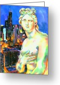 Greek Sculpture Painting Greeting Cards - Venus in the City Greeting Card by Christy  Freeman