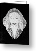 Woman Tapestries - Textiles Greeting Cards - Venus Greeting Card by Marie Halter
