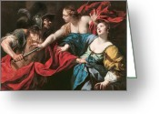 Intent Greeting Cards - Venus preventing her son Aeneas from killing Helen of Troy Greeting Card by Luca Ferrari