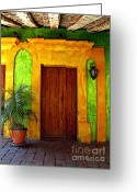 Street Scene Greeting Cards - Veranda El Quilete Greeting Card by Olden Mexico
