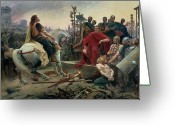 Oil Canvas Greeting Cards - Vercingetorix throws down his arms at the feet of Julius Caesar Greeting Card by Lionel Noel Royer