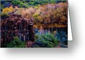 Geologic Formations Greeting Cards - Verde River Canyon Greeting Card by Helen Carson