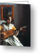 Vermeer Greeting Cards - Vermeer: Guitar Player Greeting Card by Granger