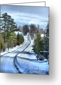 Winter Road Greeting Cards - Vermont Country Landscape Greeting Card by Deborah Benoit