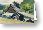 Green Painting Greeting Cards - Vermont Sugar House Greeting Card by Edward Hopper