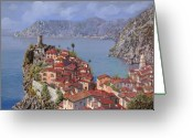 Coastal Greeting Cards - Vernazza-Cinque Terre Greeting Card by Guido Borelli
