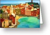 Munich Greeting Cards - Vernazza - Cinque Terre - Italy Greeting Card by Dan Haraga