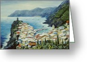 Rooftops Greeting Cards - Vernazza Cinque Terre Italy Greeting Card by Marilyn Dunlap