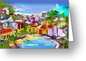 Ginette Fine Art Llc Ginette Callaway Greeting Cards - Vernazza Italy Cinque Terre Digital Painting Greeting Card by Ginette Fine Art LLC Ginette Callaway