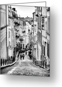 Cobblestone Street Greeting Cards - Vers le haut de La Rue Greeting Card by John Rizzuto