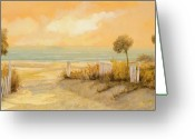 Shadow Painting Greeting Cards - Verso La Spiaggia Greeting Card by Guido Borelli