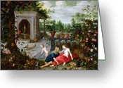 Exotic Tree Flowers Greeting Cards - Vertumnus and Pomona Greeting Card by Hendrik van the Elder Balen