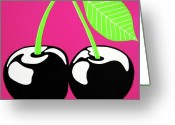 Luscious Greeting Cards - Very Cherry Greeting Card by Oliver Johnston