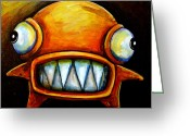 Sharp Teeth Greeting Cards - Very Scarey Glob Greeting Card by Leanne Wilkes