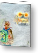 School Days Greeting Cards - Very Very Very Foggy Day Greeting Card by Yoshiko Mishina