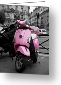 Motorbike Greeting Cards - Vespa in Pink Greeting Card by Edward Myers