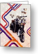 Britain Greeting Cards - Vespa Mod Scooter Greeting Card by Michael Tompsett