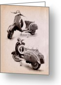 Scooter Greeting Cards - Vespa Scooter 1969 Greeting Card by Michael Tompsett
