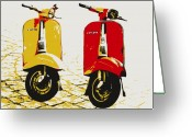 Chic Greeting Cards - Vespa Scooter Pop Art Greeting Card by Michael Tompsett
