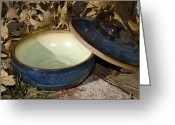Ceramics Ceramics Greeting Cards - Vessel with Lid Greeting Card by Christine Belt