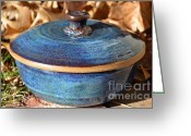 Clay Ceramics Greeting Cards - Vessel with Lid No.2 Greeting Card by Christine Belt