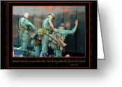 Veterans Greeting Cards - Veterans at Vietnam Wall Greeting Card by Carolyn Marshall