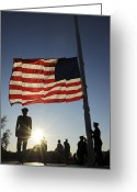 Veteran Photography Greeting Cards - Veterans Day Retreat Ceremony At Little Greeting Card by Stocktrek Images