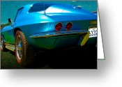 Custom Chev Greeting Cards - Vette Rear Greeting Card by Stuart Row