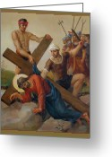 Way Of The Cross Greeting Cards - Via Dolorosa 7 Greeting Card by Svitozar Nenyuk