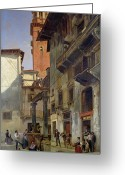 1889 Greeting Cards - Via Mazzanti in Verona Greeting Card by Jacques Carabain