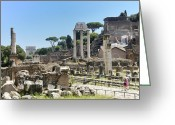 Ancient Rome Greeting Cards - Via Sacra. Roman Forum. Rome Greeting Card by Bernard Jaubert