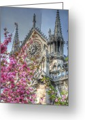 Notre Dame Greeting Cards - Vibrant Cathedral Greeting Card by Jennifer Lyon
