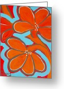 Abstract Flowers Greeting Cards - Vibrant Flappers Greeting Card by Cindy Davis