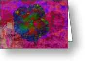 Pink And Purple Greeting Cards - Vibrant Flower Series 1 Greeting Card by Jen White