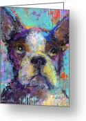 Vibrant Mixed Media Greeting Cards - Vibrant Whimsical Boston Terrier Puppy dog painting Greeting Card by Svetlana Novikova