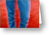 Chromatic Greeting Cards - Vibrating Blue Jeans Against A Red Greeting Card by Raymond Gehman
