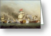 Galleon Greeting Cards - Vice Admiral Sir George Ansons Greeting Card by Samuel Scott